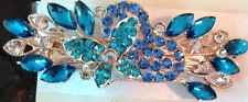 Barrette Hair Pin Clip Rhinestone Blue Butterfly Ships From Usa