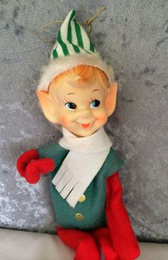 Adorable happy long legged mid-century Japan pixie elf with molded rubber head, felt suit, and cute pointed ears! Christmas Elf, Vintage Christmas, Christmas Ornaments, Antique Christmas Decorations, Holiday Decor, Vintage Shelf, Vintage Santas, Old Things, Pointed Ears