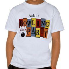 KRW Custom Bowling Birthday Party Kids T Shirts