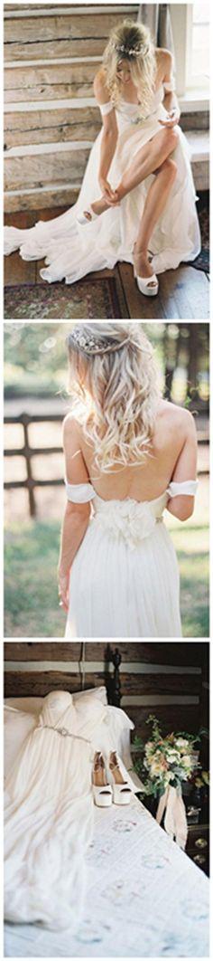 Elegant Off-shoulder Beading Sash Long Chiffon Wedding Dress