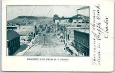 "1906 Cripple Creek, Colorado Postcard ""BENNETT AVENUE FROM M.T. DEPOT"" w/ Cancel"