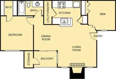 Degas Floor Plan - 1 Bath with bonus room. Great for those needing a home office, gaming room, nursery or area for your own work out equipment. 2 Bedroom Floor Plans, Degas, Small Studio, Game Room, Home Office, The Neighbourhood, Gaming, Nursery, Bath