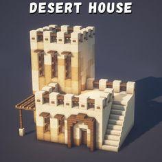 Minecraft Desert House, Cute Minecraft Houses, Minecraft Room, Minecraft Plans, Minecraft Survival, Amazing Minecraft, Minecraft Tutorial, Minecraft Blueprints, Minecraft Crafts