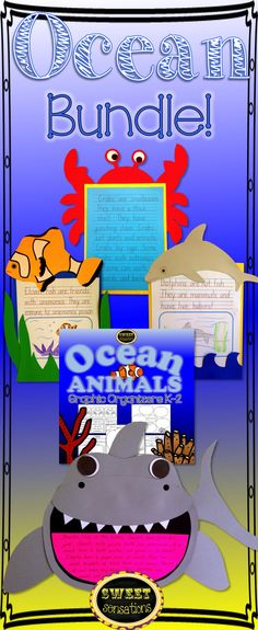 OK, that's me sorted until the end of the year!  Crafts for sharks, clown fish, dolphins and crabs PLUS graphic organizers for every animal.  Students are going to love this end of year unit!