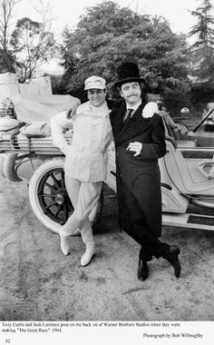 """Tony Curtis and Jack Lemmon pose on the back lot of Warner Bros. Studios where they are making """"The Great Race"""", 1964 Hollywood Actor, Classic Hollywood, Old Hollywood, Jack Lemmon, Movie Theater, Movie Stars, Movie Tv, Good Comedy Movies, The Great Race"""