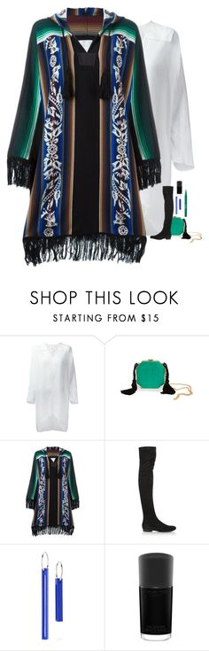 """""""Sacai - Fringed Poncho Style"""" by twinklebluegem on Polyvore featuring Lost & Found, Alessandra Rich, Sacai, Robert Clergerie, MAC Cosmetics and Stila"""