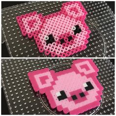 Perler/Hama Pig - Peeler - Ideas of Peeler Easy Perler Bead Patterns, Perler Bead Designs, Melty Bead Patterns, Perler Bead Templates, Hama Beads Design, Diy Perler Beads, Perler Bead Art, Beading Patterns, Pearler Beads