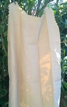 "RARE Original condition unused unwashed Antique French camel linen #nightgown with yellow silk ribbon. French 1850's handmade. Hand embroidered Bourdon Monogram "" MB"", cut w... #antiquelinen #victorian #frenchlinen #vintage #lace #1850"