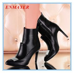 ENAYER 2014 NEW Arrivals fashion ankle boots sexy thin high heels for lady hot sale free shipping Buckle women boots $159.99