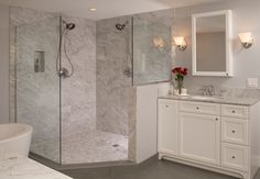 Glamorous - polished marble shower slab. Interior design by Christine Suzuki.