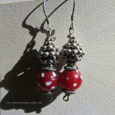 Boucles d'oreilles aux Pâte de verre rouge, Arg 925. Silver Past Glas Earrings. | eBay