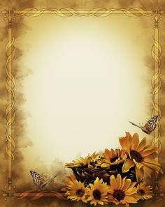 Sunflowers Still Life Frame - Free image on Pixabay Old Paper Background, Flower Background Wallpaper, Flower Backgrounds, Text Background, Speisenkarten Designs, Molduras Vintage, Stationary Printable, Page Borders Design, Beautiful Flowers Wallpapers