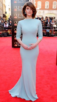 Gemma Ward in a lovely Prada number at the Laurence Olivier Awards.