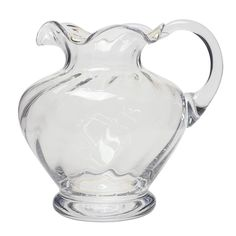 """This jug has a great shape and hand formed rim. A large 3 pint capacity - for water, juice or wine! Measures 8"""" tall, Capacity of 3pints."""