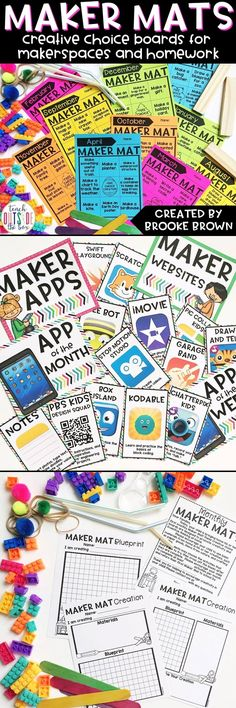All New Maker Mats: Creative monthly choice boards for MakerSpaces and Homework! Teaching Science, Teaching Tools, Teaching Ideas, Divergent Thinking, Kindergarten Stem, Choice Boards, Stem Steam, Esquivel, Elementary Library