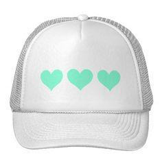 Cute Aquamarine Hearts in a Row Mesh Hats
