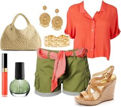 Coral & green, created by fabcebrian on Polyvore