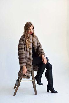 Tortora Dyed Russian Sable Fur Coat