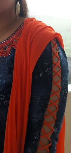 50 Latest sleeves design for kurti to try in 2019 Neck Designs For Suits, Blouse Designs Silk, Sleeves Designs For Dresses, Dress Neck Designs, Sleeve Designs For Kurtis, Chudidhar Neck Designs, Kurti Sleeves Design, Kurta Neck Design, Kurti Designs Party Wear