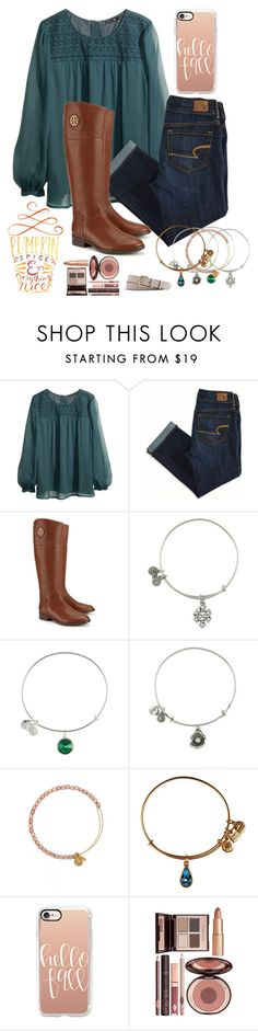 """""""hello fall"""" by kristi2014 on Polyvore featuring H&M, American Eagle Outfitters, Tory Burch, Alex and Ani, Casetify, Charlotte Tilbury and J.Crew"""
