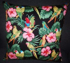 Tropical Multilcoloured Parrots cushion cover, 45 cm x 45 cm
