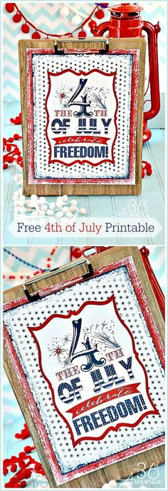 Fourth of July Free Printable & The Ultimate Red, White and Blue Roundup!  #ultimateredwhiteandblue