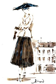 1947: the Dior 'Bar' suit.  Illustration: Christian Berard.