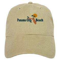 Panama City Beach - Map Design. Baseball Cap on CafePress.com