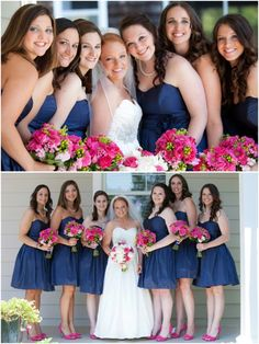 navy blue bridesmaids dresses, hot pink rose and gerbera daisy bouquets, United States Naval Academy Chapel wedding, navy and pink military wedding, Liz and Ryan Photography