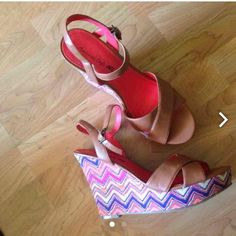 Size 10 chevron side wedges These are so cute and were worn a couple of times. Shoes Wedges