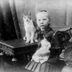 Hulda Lundager With Her Cat and Doll, Mt. Morgan