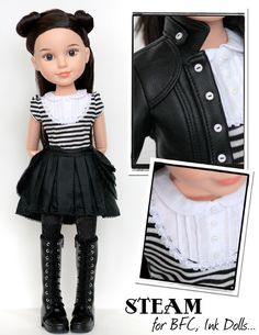 Liberty Jane Steam Outfit Bundle for BFC, Ink. Dolls   PDF Doll Clothes Pattern   Cosplay Steampunk Fashion   Download, Print, Sew!