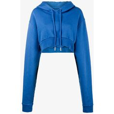 Off-White Cropped Long Sleeve Hoodie ($445) ❤ liked on Polyvore featuring tops, hoodies, blue, off white hoodie, blue crop top, long sleeve hoodie, blue top and blue hooded sweatshirt