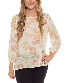 This Ivory Floral Bow Top is perfect! #zulilyfinds