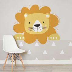 peek a boo larry-nursery-room-wall mural-kj Nursery Wall Murals, Nursery Wallpaper, Kids Wallpaper, Nursery Room, Wallpaper Ideas, Nursery Signs, Lion Nursery, Boy Nursery Themes, Safari Room