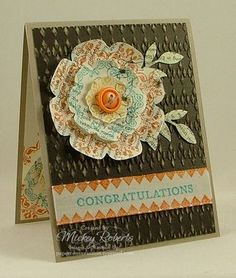 Mickey Roberts, Stampin' Addicts Blog Hop.  Love how she stamped the flowers on the newsprint DSP.