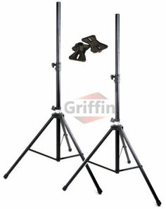 175lb Load Pair PA Speaker Monitor Stage Stands on Tripod Pro-Audio Mount DJ 2 Griffin by Griffin Stands. $55.95. Griffin MX series. What an extremely durable set of deluxe DJ speaker stands! Each of these standard pro-audio speaker stands adjust from 42 inches to 73 inches high. Each stage speaker stand effortlessly supports a maximum of 175 lbs while the high quality steel construction reduces these monitor speaker stands gross weight for exceedingly manageable trans...