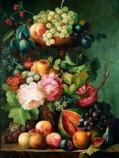 or perhaps fruits and flowers Old Paintings, Beautiful Paintings, Silk Painting, Oil Painting On Canvas, Rice Paper Decoupage, Dutch Still Life, Still Life Fruit, Flower Vases, Flowers