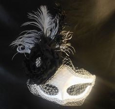 Black White Masquerade Mask With Ostrich Feathers by IrmasElegantBoutique