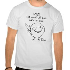 Smile finch cartoon men t-shirt. Available for women and kids clothing too. #zazzle #petopet #finch #bird #cartoon #cute #proverb #pipi #saying #comic #kawai #kawaii #lifewithbirds #emmil #thomas #deviantart #merchandise #sale #finches #birds #tshirt #tshirts #white #man #men #boy #boys #male #males