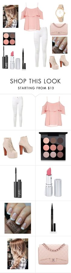 """Sin título #502"" by mechi-caligiuri ❤ liked on Polyvore featuring Frame, BB Dakota, Jeffrey Campbell, MAC Cosmetics, NARS Cosmetics, HoneyBee Gardens, OPI, Elizabeth Arden, Free People and Chanel"