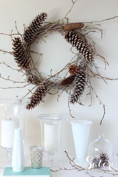 Woodland Wreath with Twigs and Pine Cones   Satori Design for Living