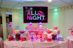 Party All Night - Pink Theme Candy Buffet Bar, Bat Mitzvah Party NYC {Party by Balloon Artistry} - mazelmoments.com