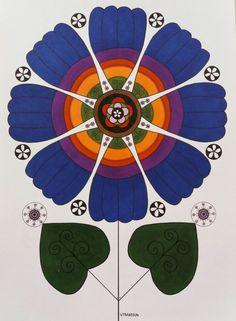 Blue flower in ink and colour pencils. Blå blomma tecknad i tusch och färgpennor Veronica, Magenta, Print Patterns, Kids Rugs, Studio, Prints, Flowers, Home Decor, Decoration Home