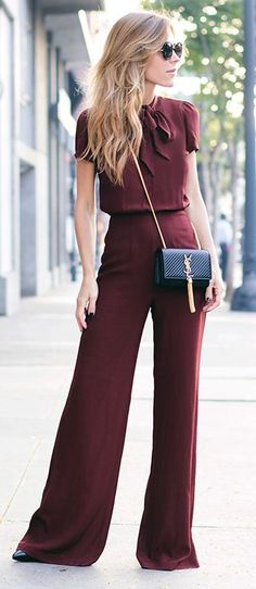 Saint Lorraine 2015 Spring Outfits Collection. Burgundy Look and Golden Purse Combination.