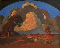 """Pierneef, Jacob Hendrik (1886 - 1957) """"Apies Rivier, Pretoria, with Meintjieskop beyond"""""""