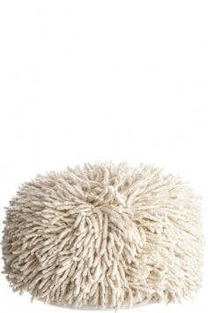 Wool Shag Pouf. This is crazy expensive, but I could totally do this with one of the soft shag rugs from IKEA.