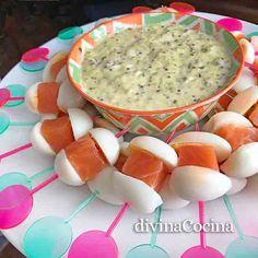 pinchos salmon huevo color