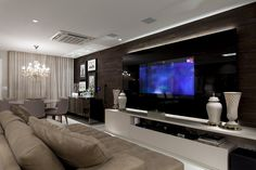 New home theater planejado varanda Ideas Living Room Tv, Living Room Modern, Home And Living, Living Room Designs, Black And Silver Living Room, New Home Theatre, Tv Wall Design, French Country Living Room, Home Theater Seating