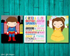 Brother & Sister. Superhero and Princess Decor. Superhero & Princess Party Decor by LittleLifeDesigns